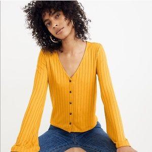 Madewell Bell Sleeve Rib Knit Cardigan Nectar Gold